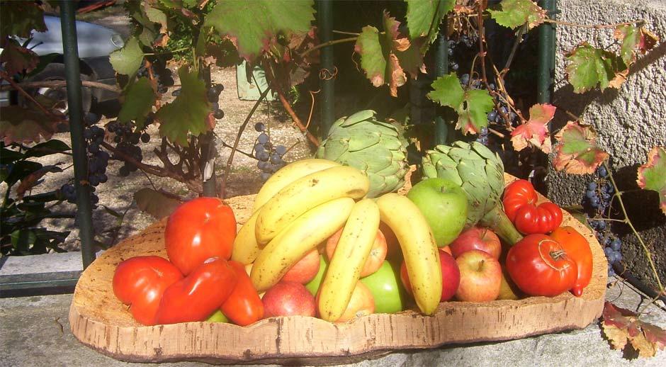 Couasse ou conque, plateau de fruits en plaque de liège